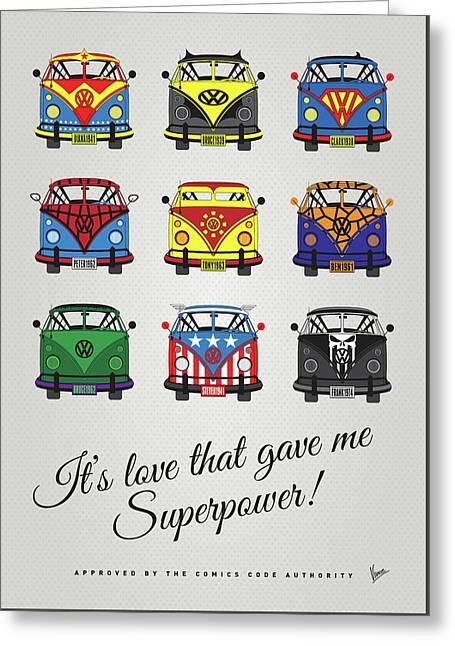 My Superhero-vw-t1-supermanmy Superhero-vw-t1-universe Greeting Card by Chungkong Art