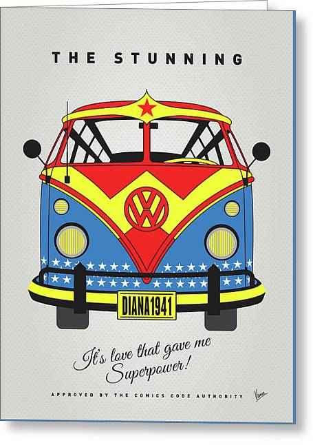 My Superhero-vw-t1-supermanmy Superhero-vw-t1-wonder Woman Greeting Card by Chungkong Art
