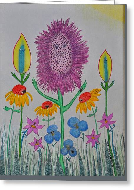 My Talking Flower Garden Greeting Card by Aunita Tyler