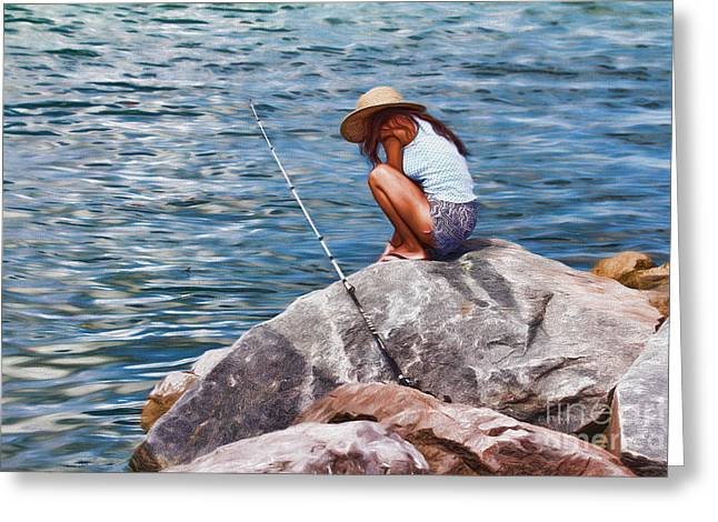 Tern Paintings Greeting Cards - My Thoughts On The Rocks Greeting Card by Deborah Benoit