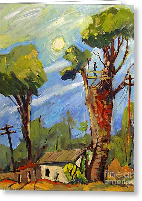 My Treehouse Behind The Garage On Madison Greeting Card by Charlie Spear