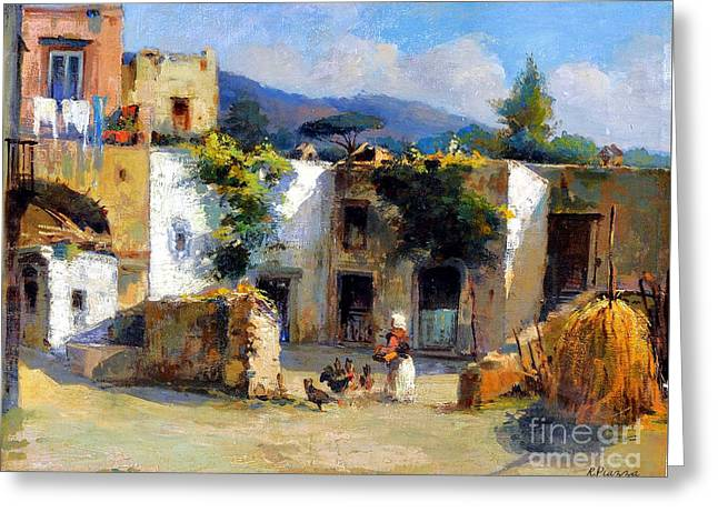 Greeting Card featuring the painting My Uncle Farm House by Rosario Piazza
