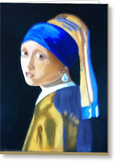 My Version-girl With The Pearl Earring Greeting Card by Rod Jellison