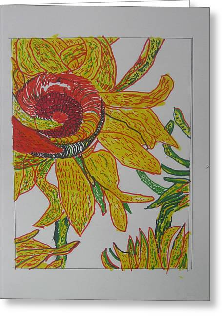 My Version Of A Van Gogh Sunflower Greeting Card