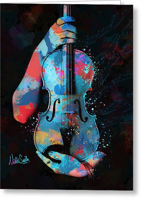 Violin Digital Greeting Cards - My Violin Whispers Music in the Night Greeting Card by Nikki Marie Smith