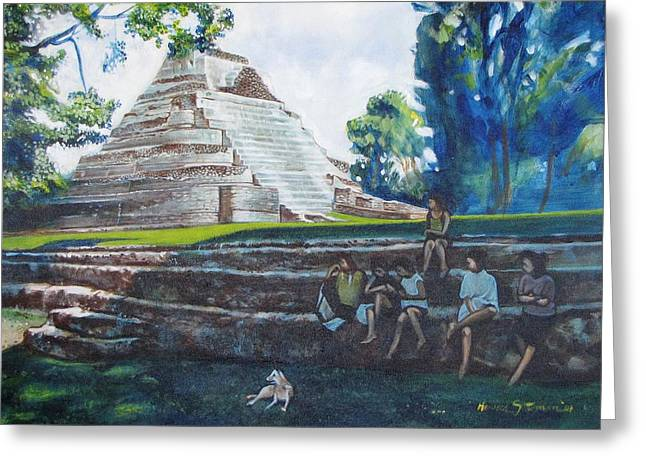 Myan Temple Greeting Card by Howard Stroman