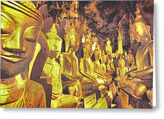 Myanmar Buddhas Greeting Card by Dennis Cox WorldViews