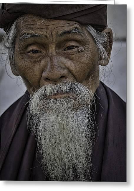 Myanmar Holy Man Greeting Card by David Longstreath