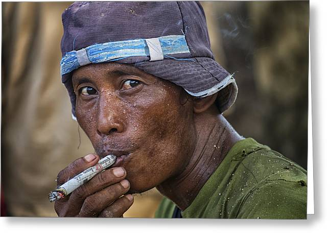 Myanmar Smoker Greeting Card by David Longstreath