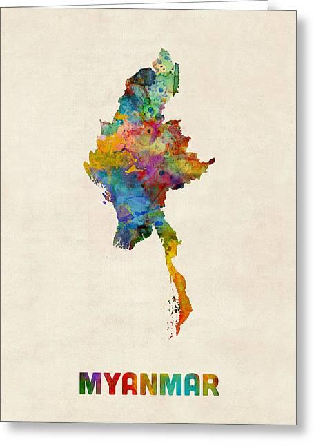 Myanmar Watercolor Map Burma Greeting Card