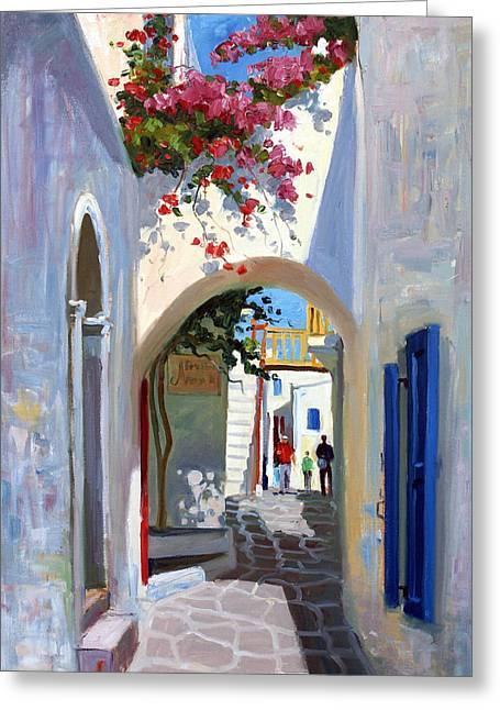 Mykonos Archway Greeting Card by Roelof Rossouw