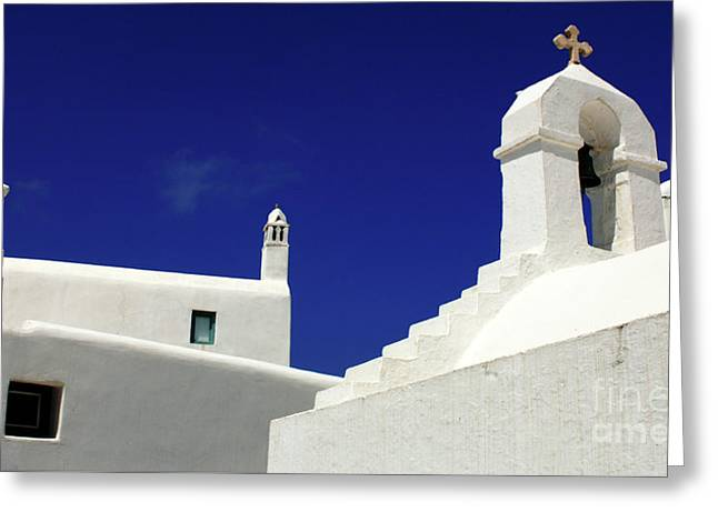 Mykonos Greece Architectual Line 5 Greeting Card by Bob Christopher