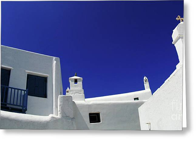Mykonos Greece Clean Line Architecture Greeting Card by Bob Christopher