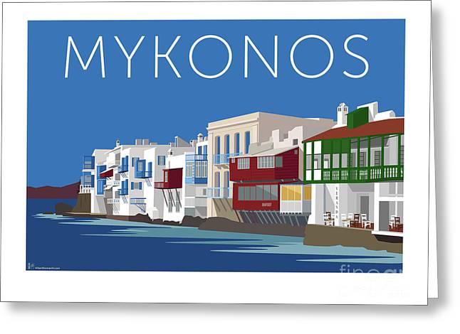 Mykonos Little Venice - Blue Greeting Card
