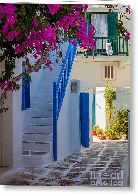 Mykonos Staircase Greeting Card by Inge Johnsson