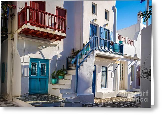 Mykonos Stairs And Balconies Greeting Card by Ken Andersen