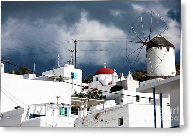 Mykonos Windmill On The Hill Greeting Card by John Rizzuto