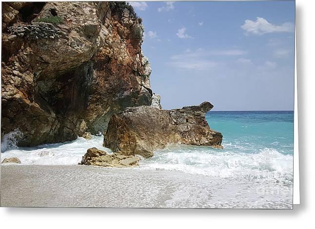 Mylopotamos Bay Greeting Card by Adriana Zoon