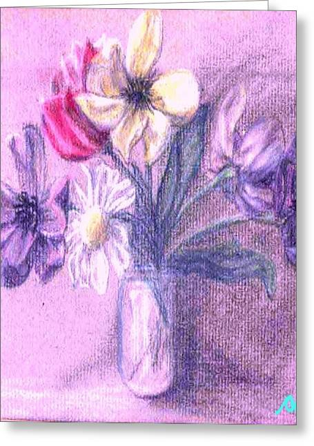 Myriad Floral In Jar Greeting Card by Ocean