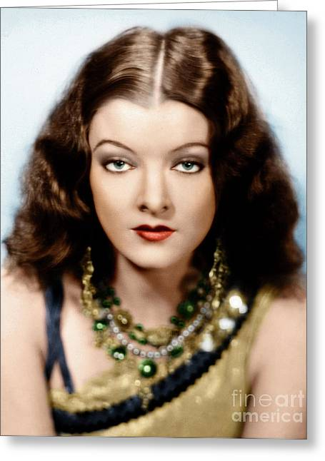 Greeting Card featuring the photograph Myrna Loy by Granger