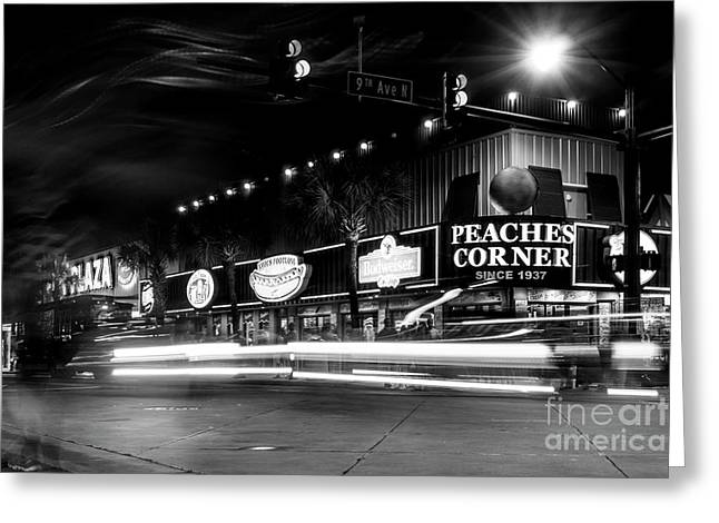 Myrtle Beach Boulevard Black And White Greeting Card by David Smith