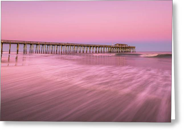 Greeting Card featuring the photograph Myrtle Beach Fishing Pier At Sunset Panorama by Ranjay Mitra