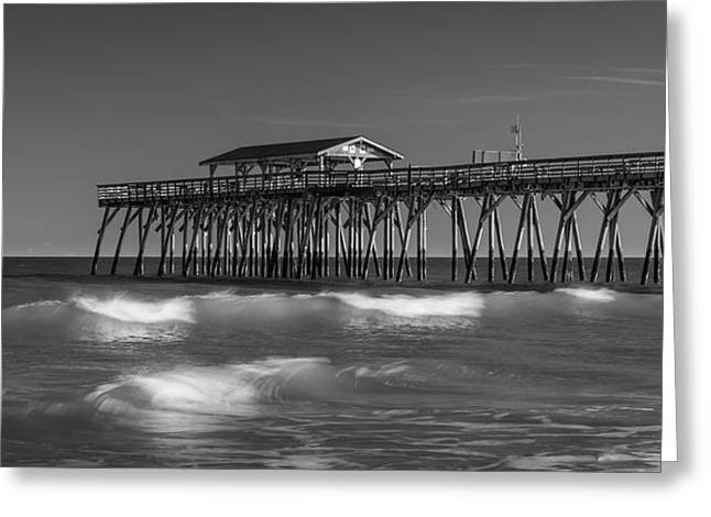Myrtle Beach Pier Panorama In Black And White Greeting Card