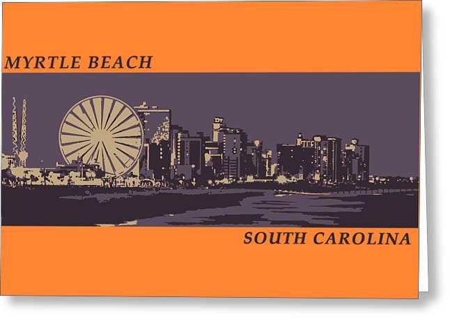 Greeting Card featuring the digital art Myrtle Beach, Sc Skyline by Jennifer Hotai