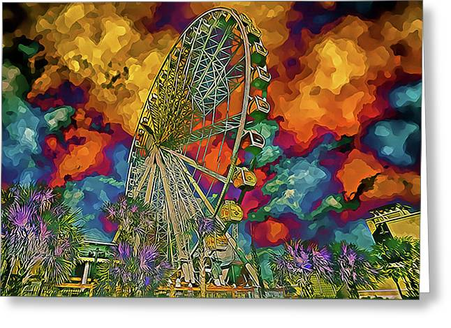 Greeting Card featuring the photograph Myrtle Beach Skywheel Abstract by Bill Barber