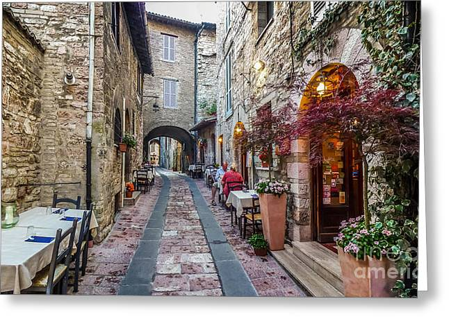 Mysterious Alleyway In Ancient European Town Greeting Card by JR Photography