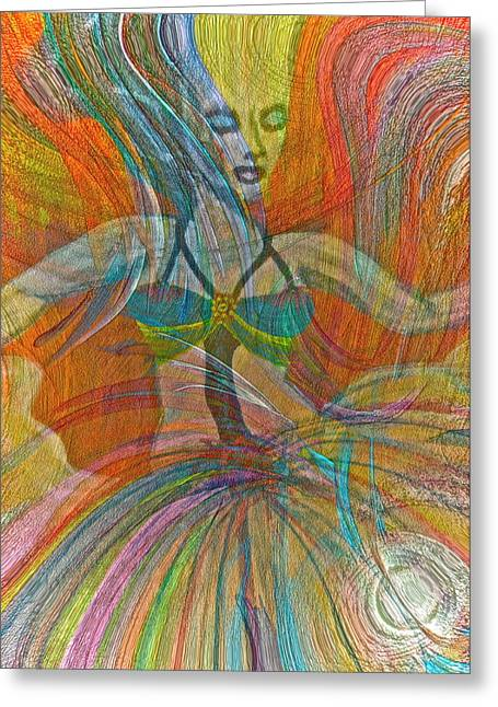 Mysterious Dancer Greeting Card by Gwyn Newcombe