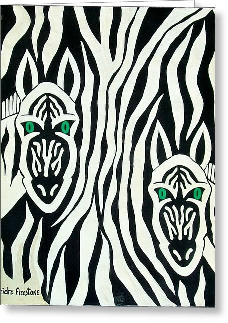 Prints Of Zebras Greeting Cards - Mysterious Greeting Card by Deidre Firestone