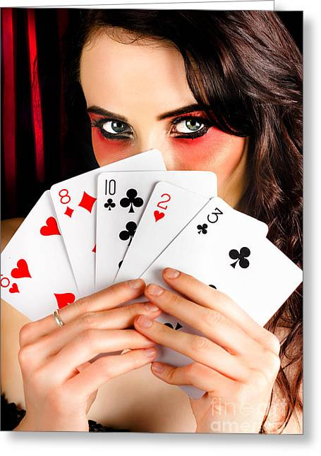 Mysterious Female Holding Deck Of Playing Cards Greeting Card