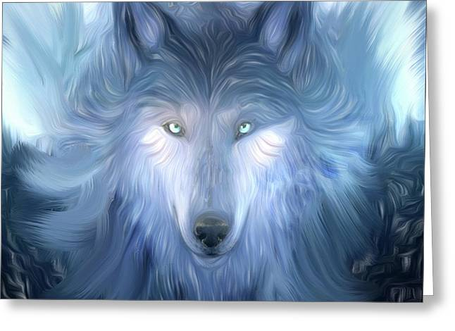 Mysterious Wolf Hand Painted Greeting Card by Heinz G Mielke