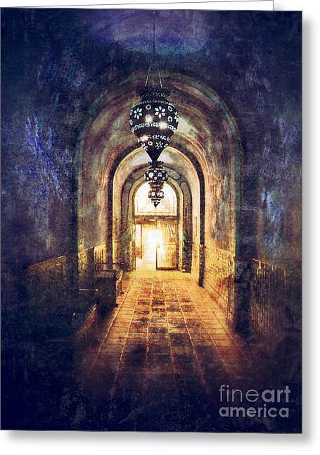 Mysterious Hallway Greeting Card by Jill Battaglia