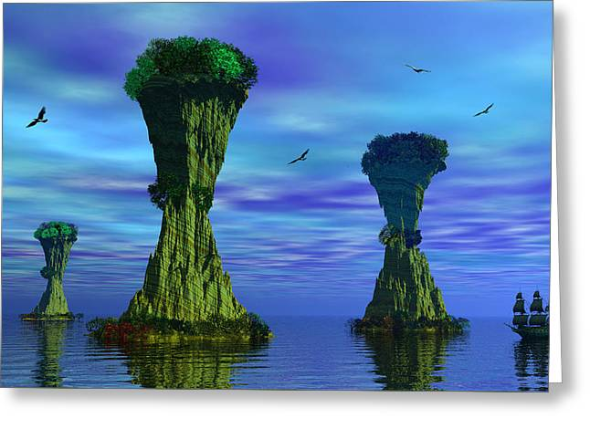 Mysterious Islands Greeting Card by Mark Blauhoefer