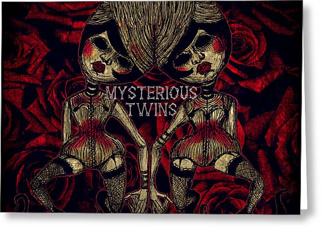 Mysterious Twins Greeting Card by Akiko Okabe