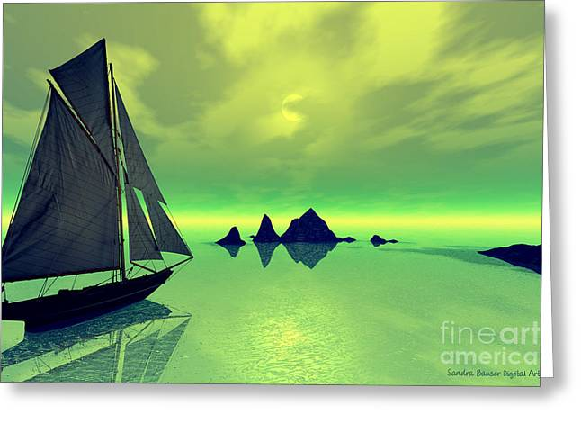 Mysterious Voyage Greeting Card by Sandra Bauser Digital Art
