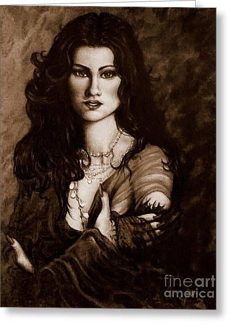 Mysterious Woman 2 Greeting Card