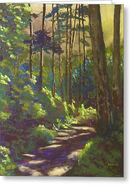 Hiking Pastels Greeting Cards - Mysterious Wood Greeting Card by Mary McInnis