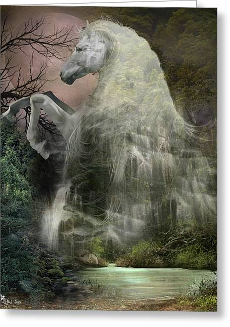 Mystery Falls Greeting Card by Ali Oppy