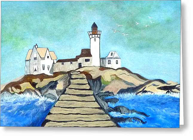 Mystery Lighthouse Greeting Card by Anke Wheeler