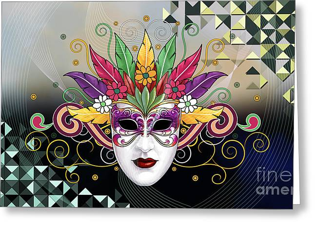 Mystery Mask Greeting Card by Bedros Awak
