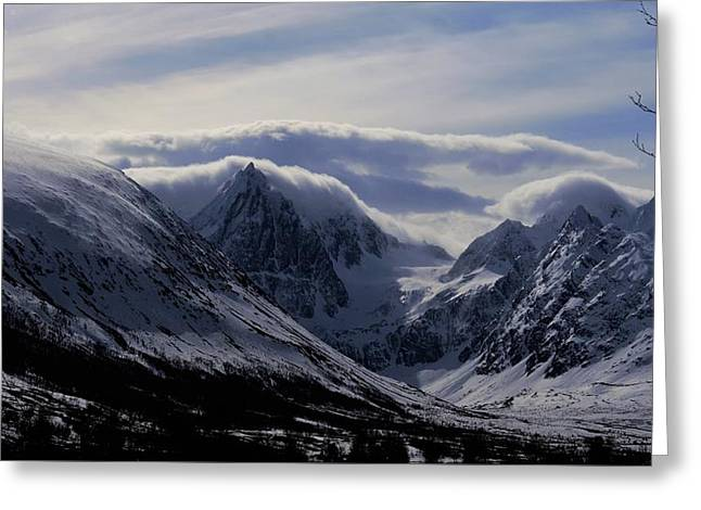 mystery mountains in North of Norway Greeting Card