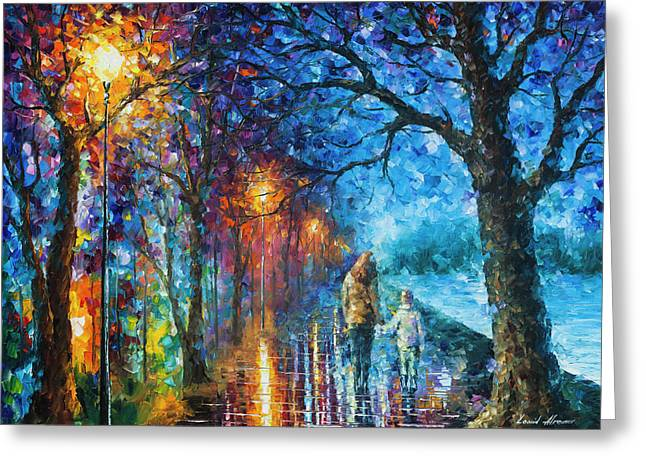 Mystery Of The Night Greeting Card by Leonid Afremov