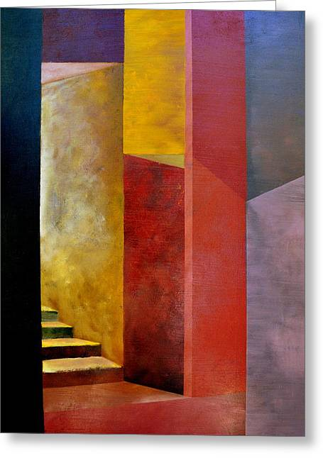 Ascending Risen Greeting Cards - Mystery Stairway Greeting Card by Michelle Calkins