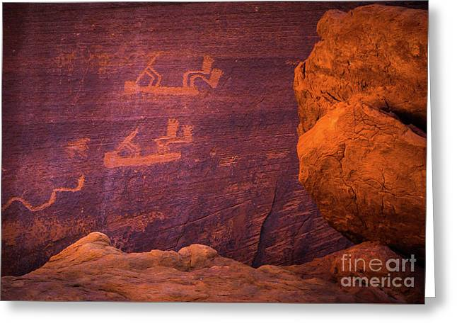 Mystery Valley Rock Art Greeting Card by Inge Johnsson