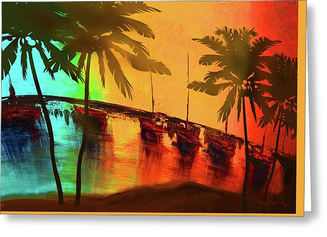 Mystic Bay Palms Rotate Greeting Card by Ken Figurski