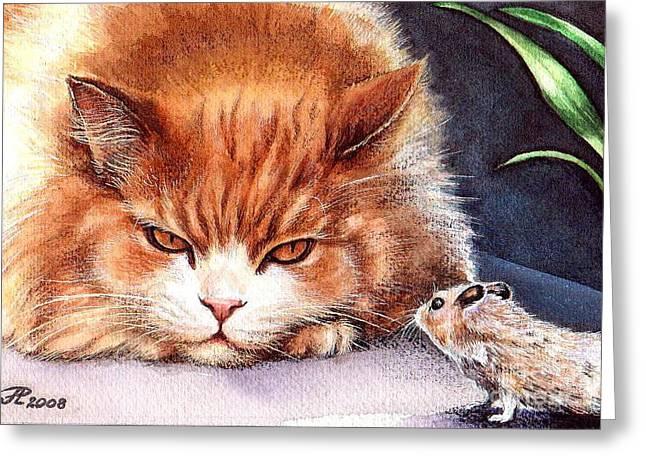 Mystic Cat Greeting Card by Larissa Prince