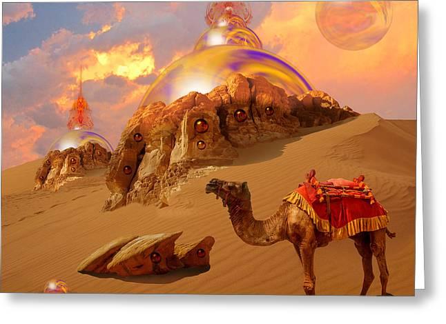 Greeting Card featuring the digital art Mystic Desert by Alexa Szlavics